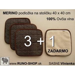 ovčie runo Merino Podložka na stoličku 40 x 40 cm 3+1 Akcia