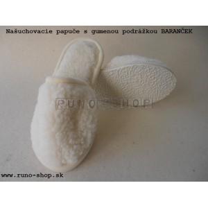 Ovčie rúno papuče 100% merino Baranček prírodný